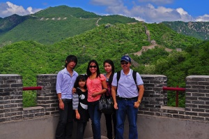 Great Wall of China with family