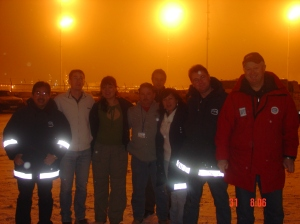 with American, British & Kazak officemates outside our site office