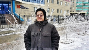Enjoying Cold Weather Infront of PSN Kazstroy Office Building